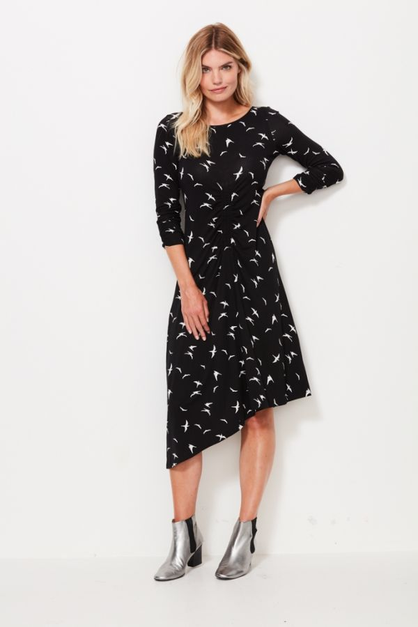 Black & White Bird Print Asymmetric Hem Dress
