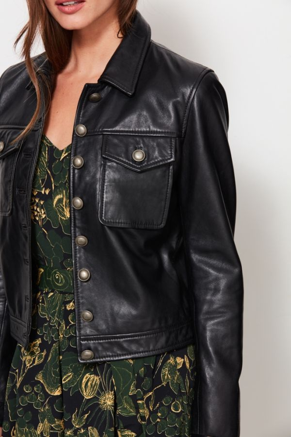 Black Leather Western Jacket
