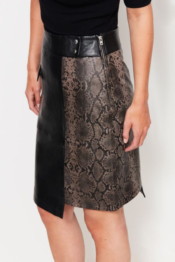 Leather Snake Print Panel Skirt