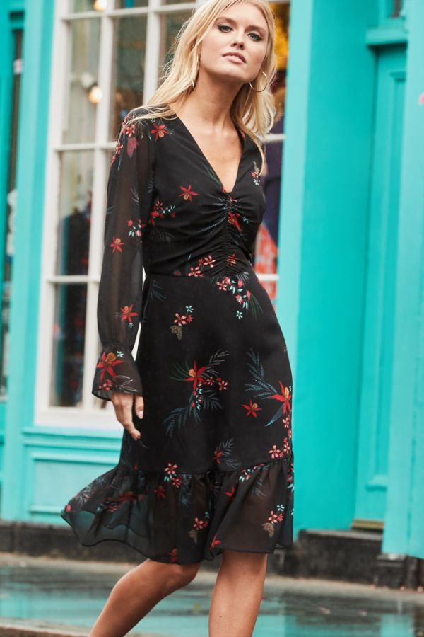 Black & Red Floral Print Fit & Flare Dress