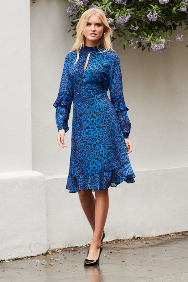Blue Leopard Print Fit & Flare Ruffle Dress