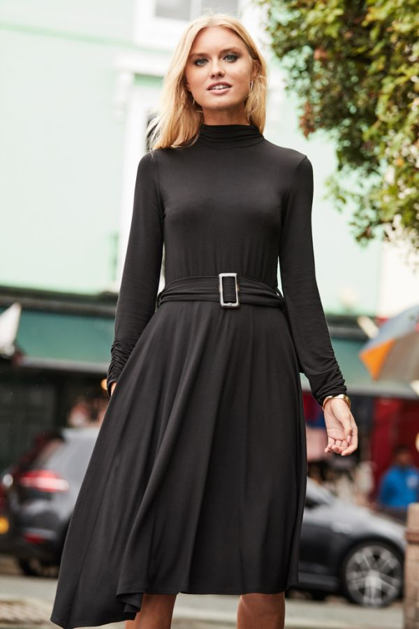 Black Belted Asymmetric Hem Dress