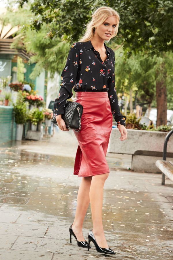 Red Leather Panelled Pencil Skirt
