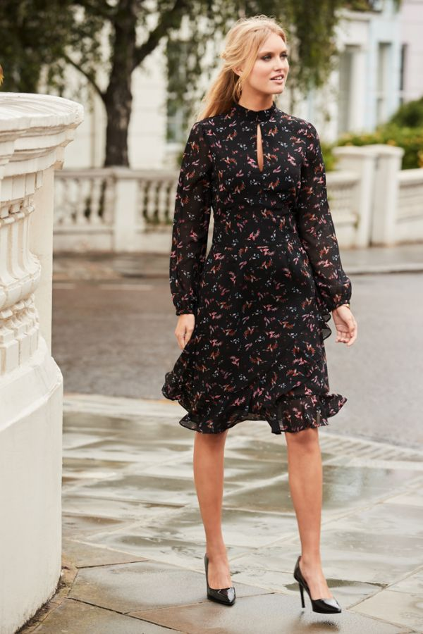 Black Floral Print Fit & Flare Ruffle Dress