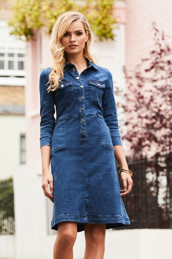 Indigo Popper Front 3/4 Sleeve Denim Dress
