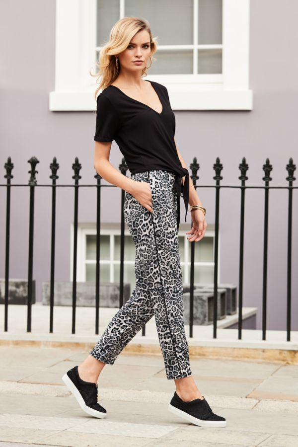 Snow Leopard Print Luxe Trousers