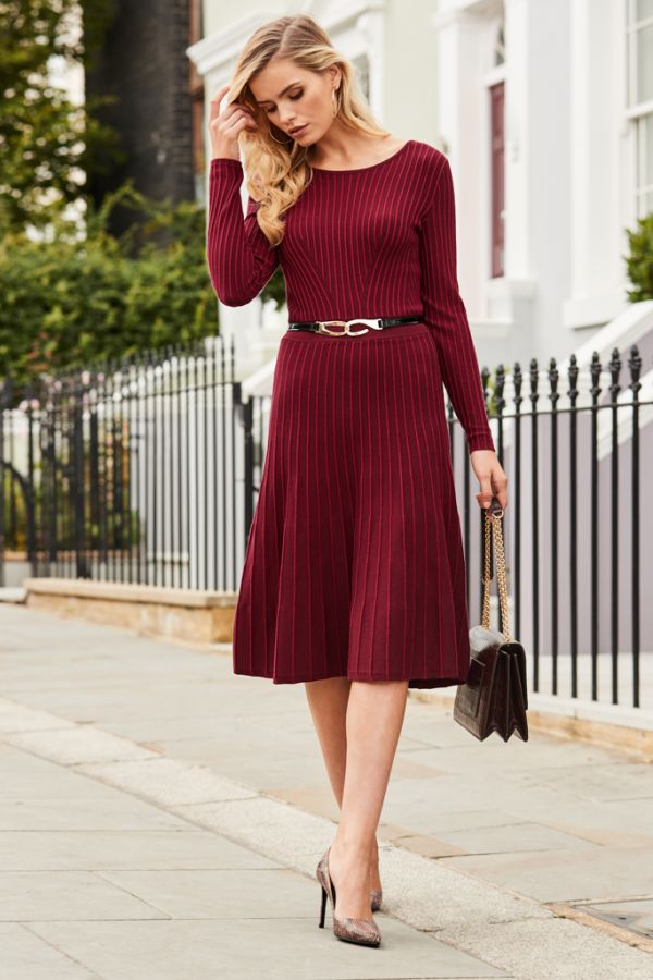 Burgundy Fit & Flare Knitted Dress