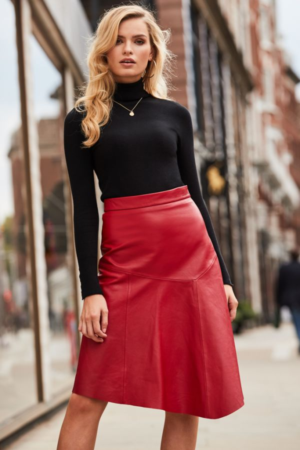 Red Leather Asymmetric A Line Skirt