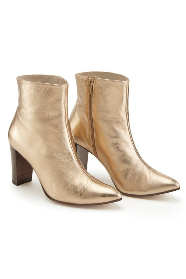 Gold Leather Ankle Boot With Stack Heel