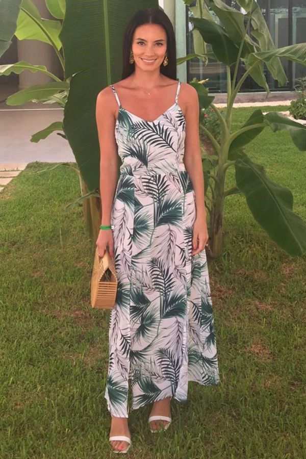 White & Green Palm Print Tie Back Midi Dress