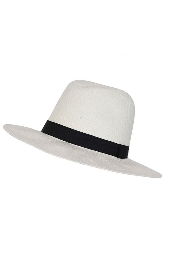 White Woven Panama Hat with Black Band