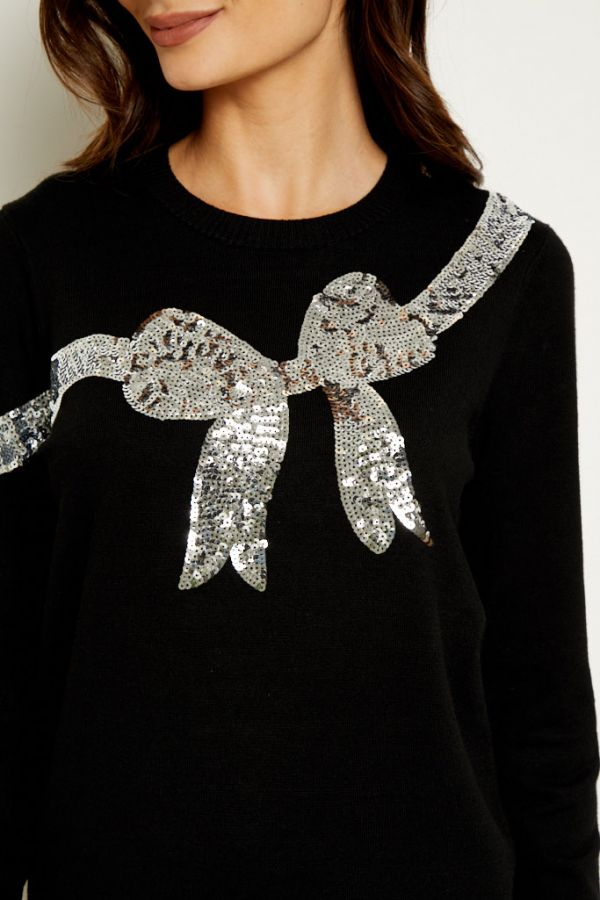 Black Silver Sequin Bow Knit Jumper
