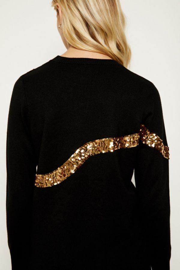 Black Gold Sequin Bow Knit Jumper