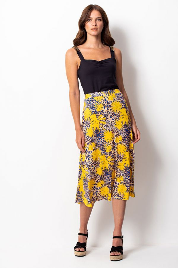 Yellow & Blue Tropical Print Slinky Midi Skirt