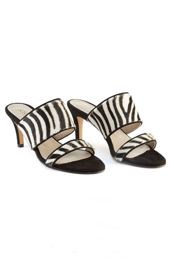 Zebra Print Leather Mule
