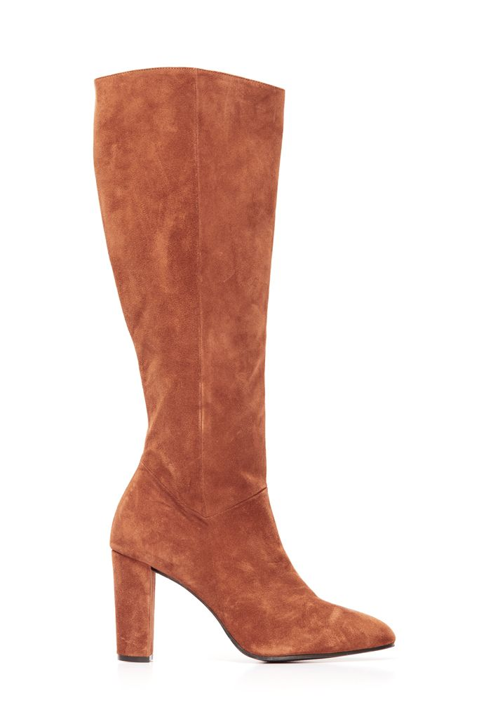 diversified latest designs top-rated latest classic style Cognac Brown Suede Zip Knee Boot
