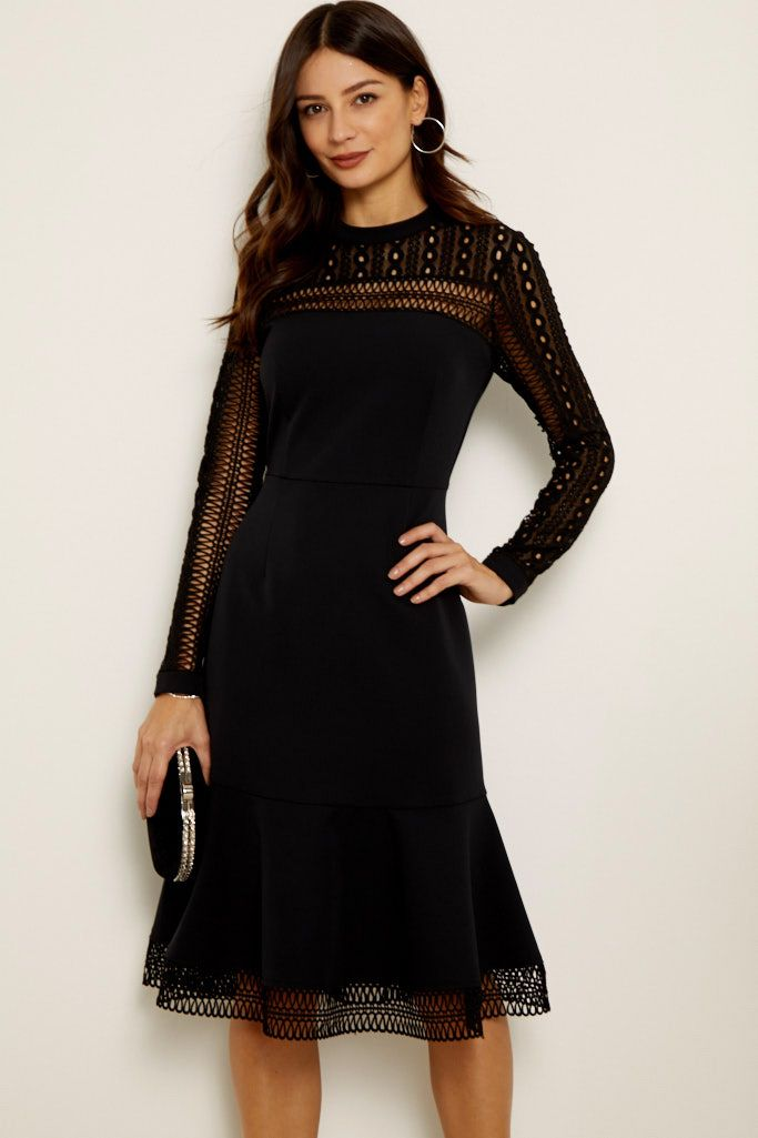 Black Lace Panelled Ruffle Hem Dress