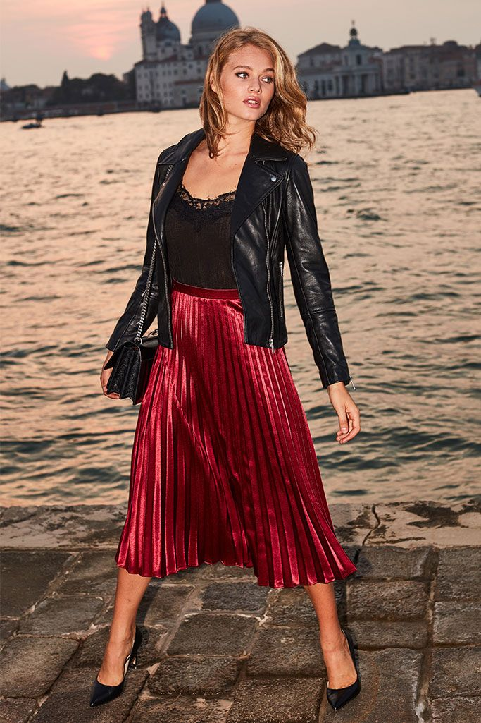 Ruby Red Pleated Midi Skirt