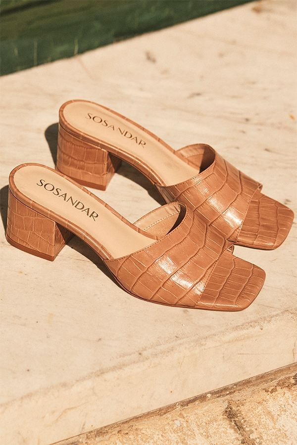 Marley Camel Croc Leather Square Toe