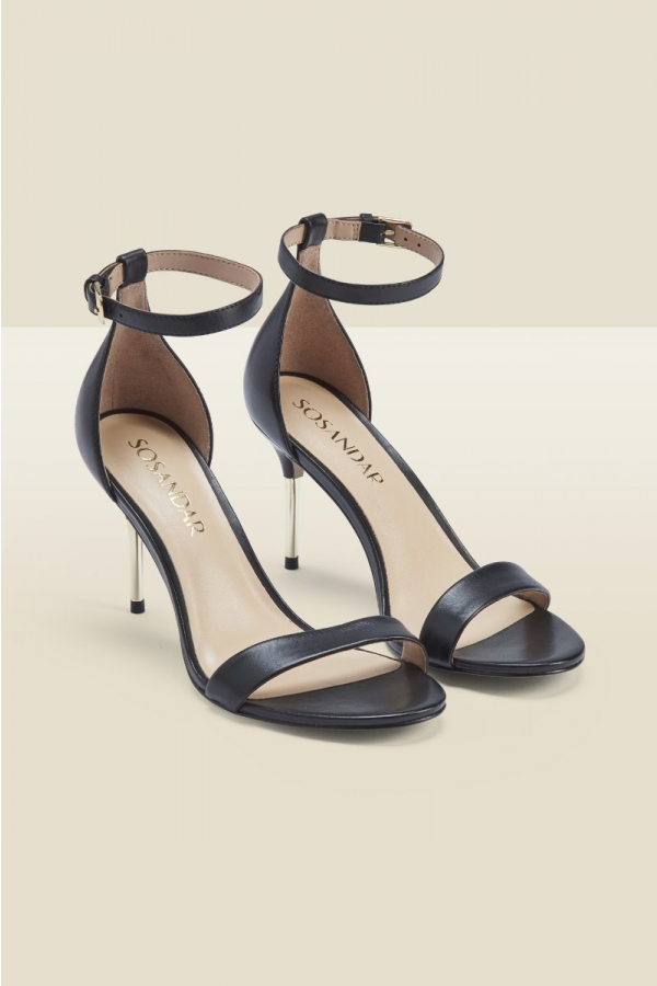 Melrose Leather Barely There Metal Heel