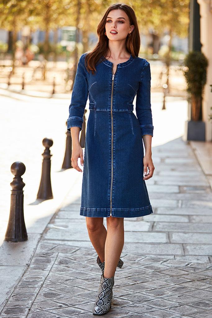 The Ultimate<br>Denim Dress Edit >