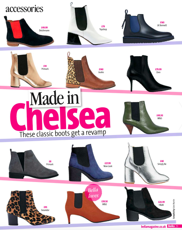 Sosandar leopard print chelsea boots featured in Bella magazine.
