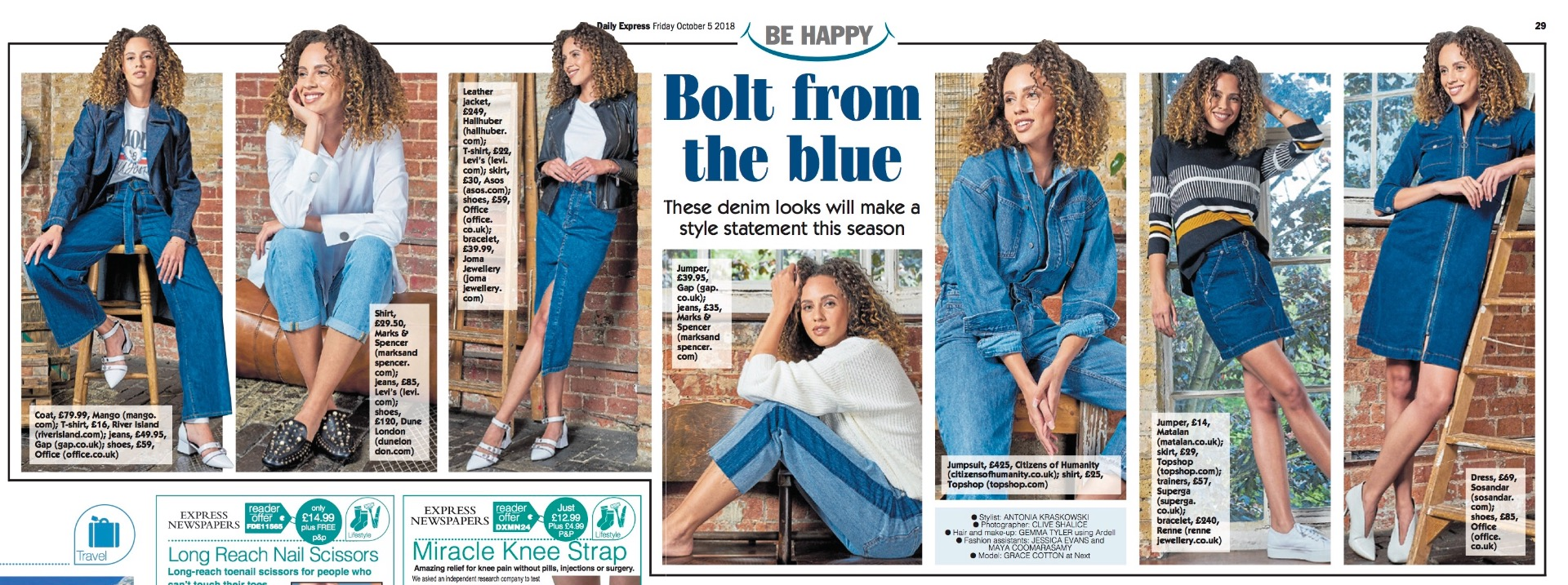 Sosandar Dark Indigo Zip Front Denim Dress featured in The Express