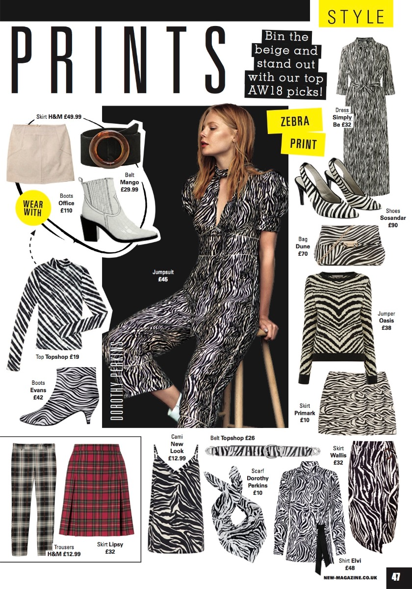 Sosandar Zebra Print Leather Slingback Shoe featured in New and Star Magazine