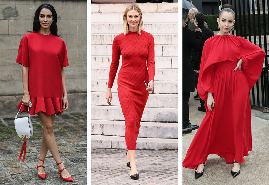 Red dresses stole the street style show across this season's fashion week.