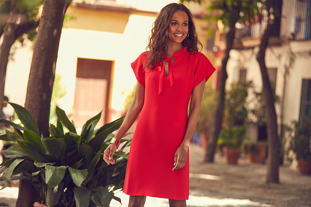 Red Tie Neck Shift Dress